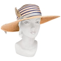 1960s Woven Straw Picture Hat with Feather