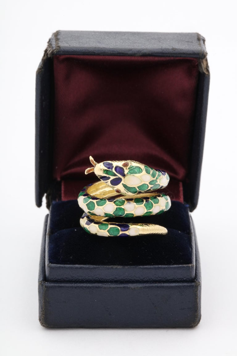 1960s Wrap Around Coiled Blue, White, Green Enamel Gold Figural Snake Ring In Good Condition For Sale In New York, NY