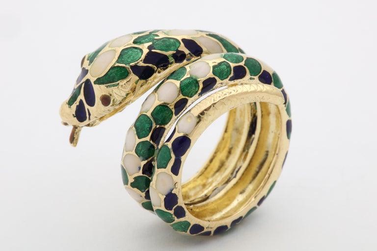 Women's or Men's 1960s Wrap Around Coiled Blue, White, Green Enamel Gold Figural Snake Ring For Sale
