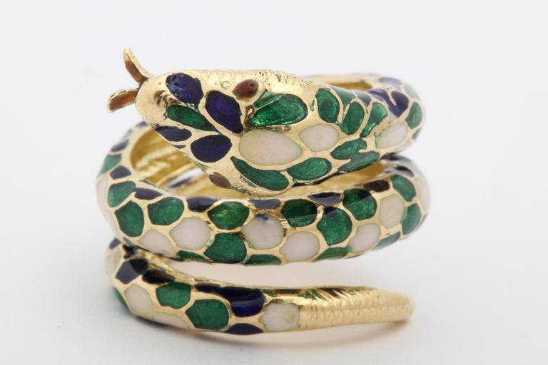 1960s Wrap Around Coiled Blue, White, Green Enamel Gold Figural Snake Ring For Sale 1