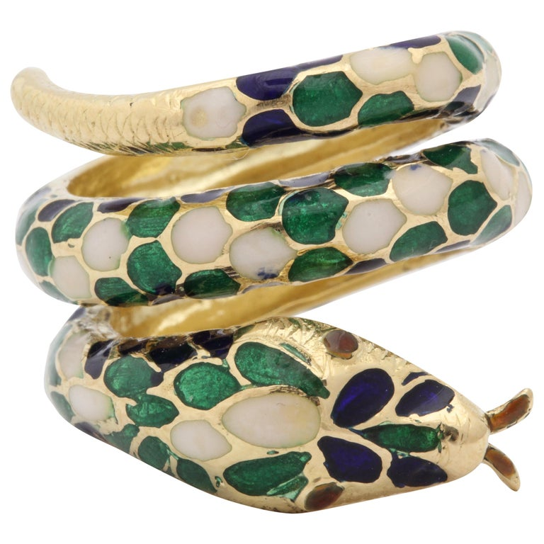 1960s Wrap Around Coiled Blue, White, Green Enamel Gold Figural Snake Ring For Sale