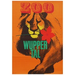 1960s Wuppertal Zoo Germany Travel Poster Lion Illustration Art