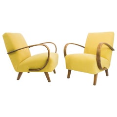 1960s Yellow Armchairs by J. Halabala, a Pair