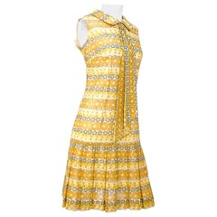 1960s Yellow Daisy Printed Drop-Waist Dress