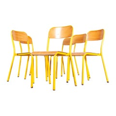 1960s Yellow Framed Stacking School Dining Chairs, Set of Six