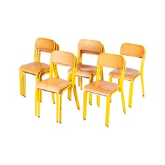 1960s Yellow Framed Stacking School Dining Chairs, Set of Twelve
