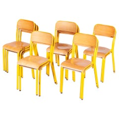 1960s Yellow Framed Stacking School Dining Chairs, Various Quantities Available