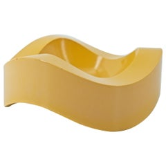 1960s Yellow German Pop Art Undulating Tripod Key Candy Dish Table Sculpture