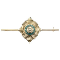 1960s Yellow Gold and Green Enamel Scots Guard Brooch
