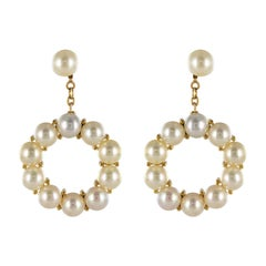 1960s Yellow Gold Cultured Pearl Dangling Earrings