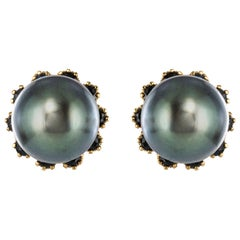 1960s Yellow Gold Tahitian Pearl Stud Earrings