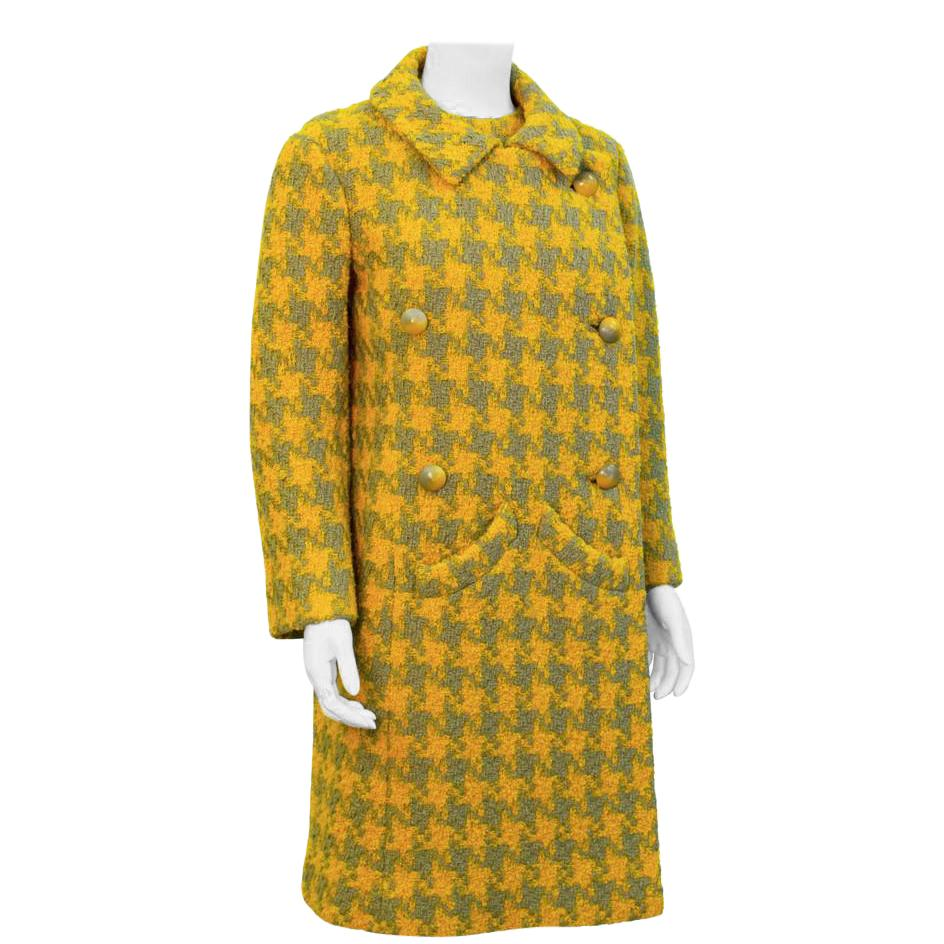 1960s Yellow & Grey Houndstooth Suit