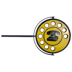 1960s Yellow Metal Enamel Vintage Italian Telephone Double-Sided Sign, Sip