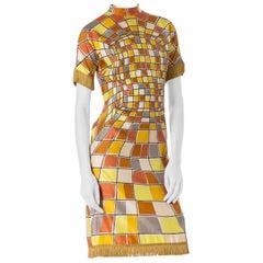 1960S Yellow Rayon Op-Art Geo Print Short Sleeve Mod Dress With Fringe