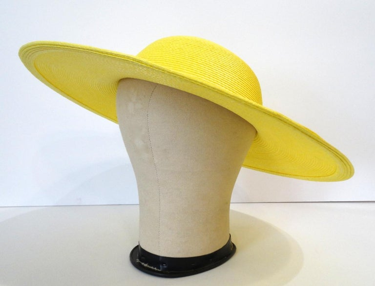 Women's or Men's 1960s Yellow Straw Wide Brim Bowler Hat  For Sale