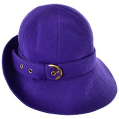 1960s YSL Vintage Purple Wool Hat W Buckle Designed by Yves Saint Laurent 22""