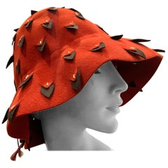 1960s Yves Saint Laurent Cinnabar Felt Bucket Hat W/ Pierced Embellishment