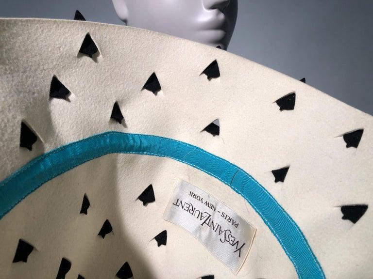 1960s Yves Saint Laurent Eggshell Felt Bucket Hat W/ Pierced Embellishment For Sale 6