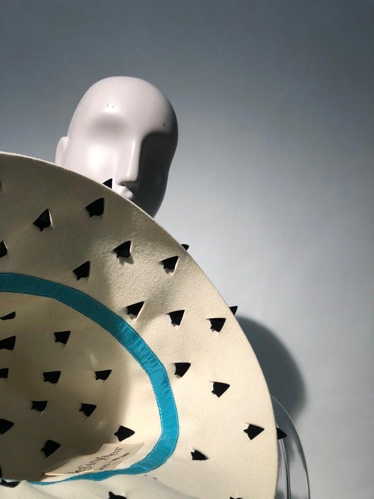 1960s Yves Saint Laurent Eggshell Felt Bucket Hat W/ Pierced Embellishment For Sale 7