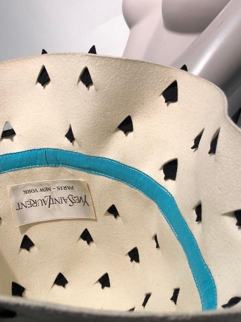 1960s Yves Saint Laurent Eggshell Felt Bucket Hat W/ Pierced Embellishment For Sale 8