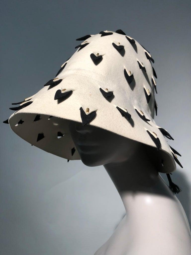 Beige 1960s Yves Saint Laurent Eggshell Felt Bucket Hat W/ Pierced Embellishment For Sale