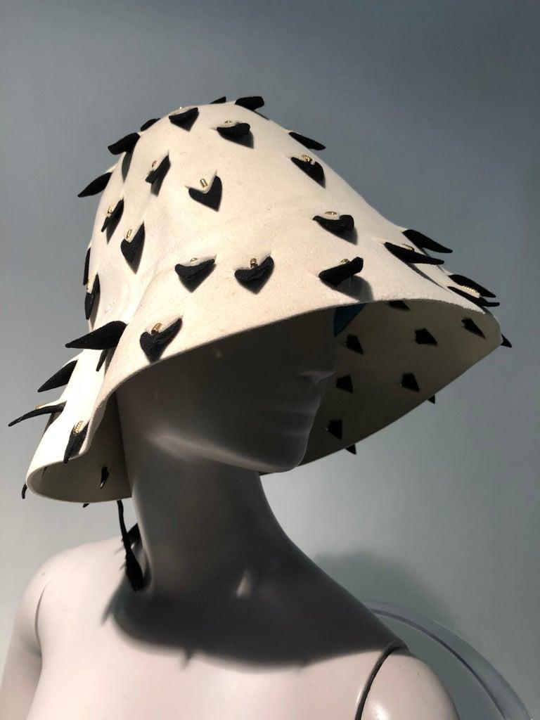 1960s Yves Saint Laurent Eggshell Felt Bucket Hat W/ Pierced Embellishment For Sale 1