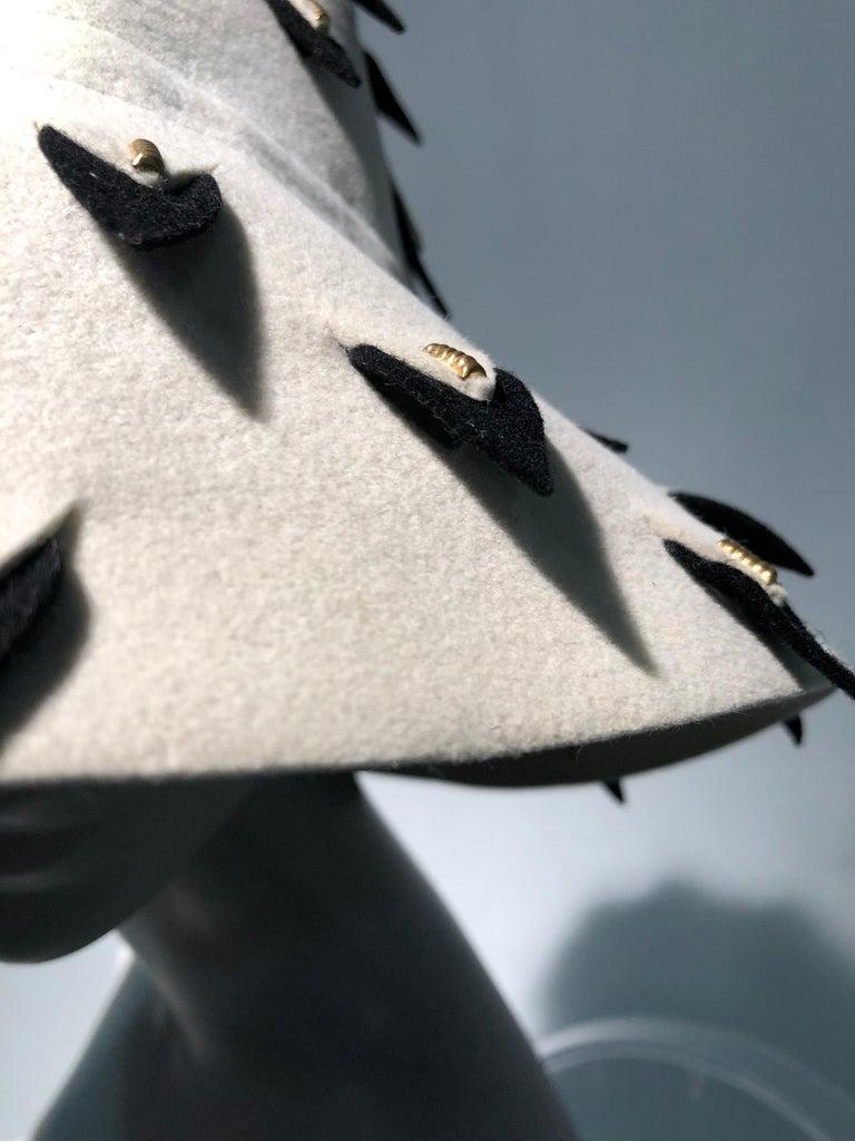 1960s Yves Saint Laurent Eggshell Felt Bucket Hat W/ Pierced Embellishment For Sale 2