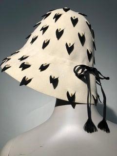 1960s Yves Saint Laurent Eggshell Felt Bucket Hat W/ Pierced Embellishment