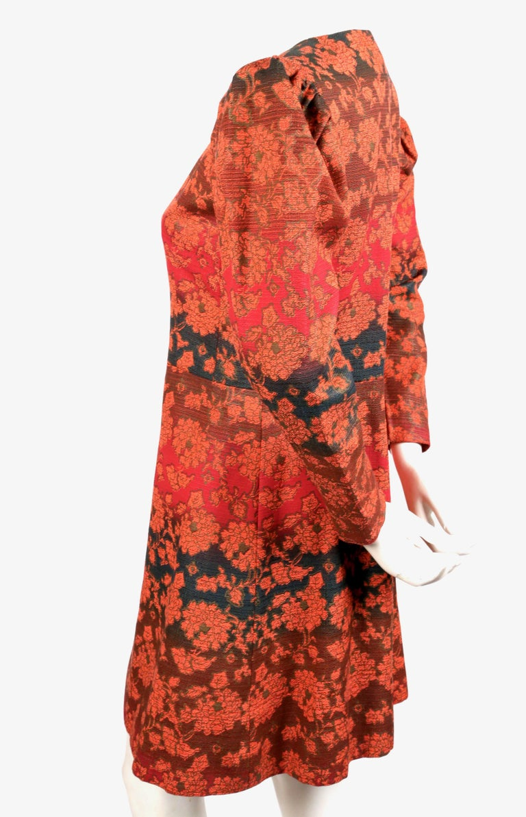 1960's YVES SAINT LAURENT gradient color floral coat with puff sleeves In Good Condition For Sale In San Fransisco, CA