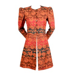 1960's YVES SAINT LAURENT gradient color floral coat with puff sleeves