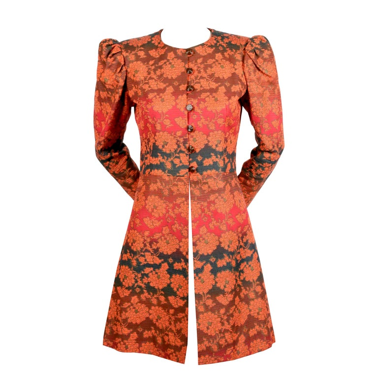 1960's YVES SAINT LAURENT gradient color floral coat with puff sleeves For Sale