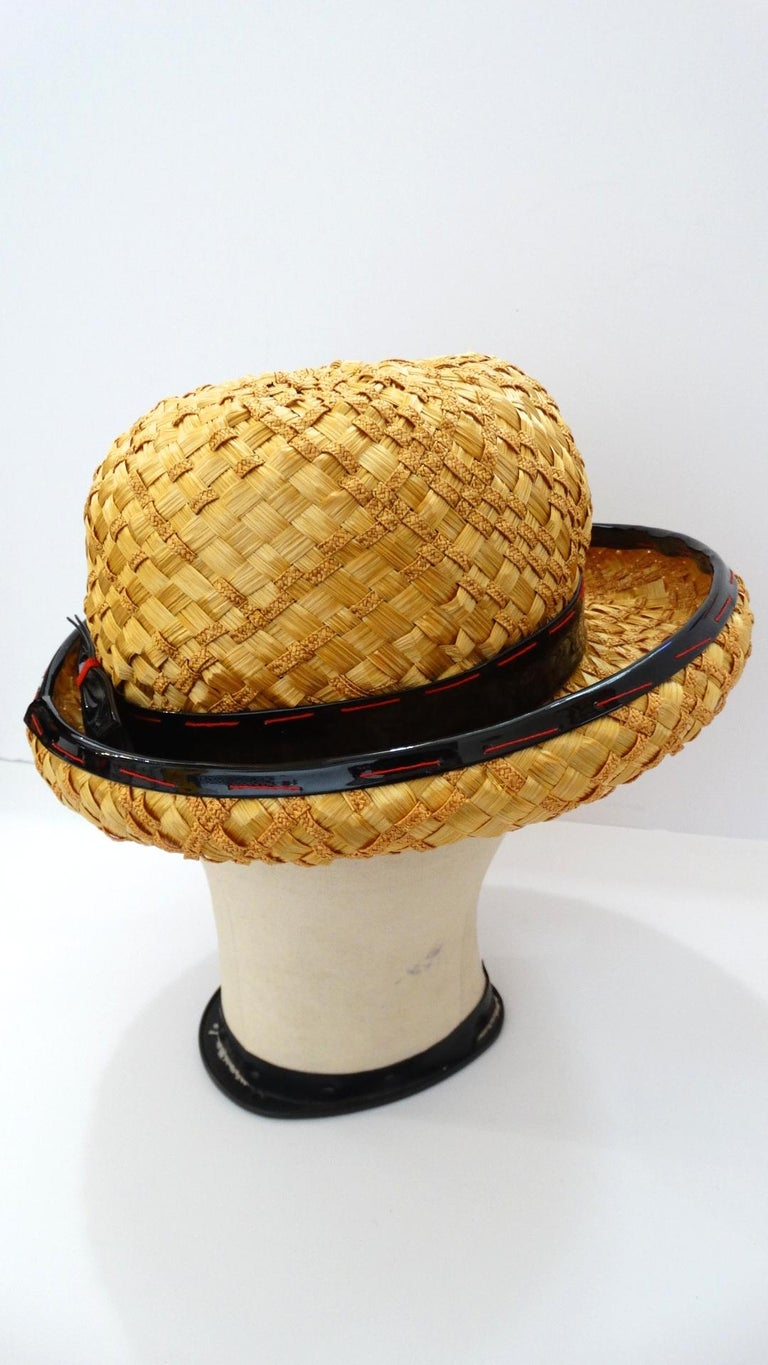 Yves Saint Laurent 1960s Mixed Straw Bowler Hat  For Sale 5