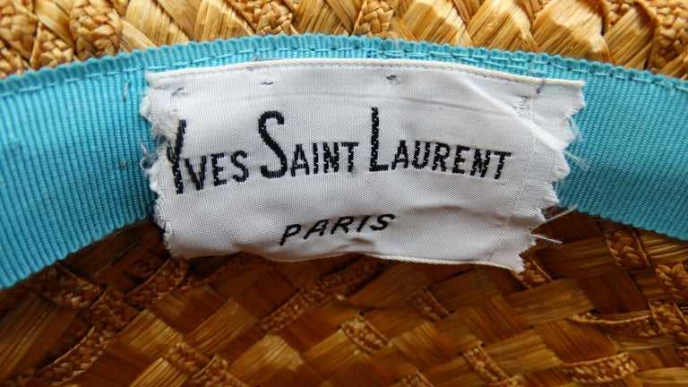Brown Yves Saint Laurent 1960s Mixed Straw Bowler Hat  For Sale