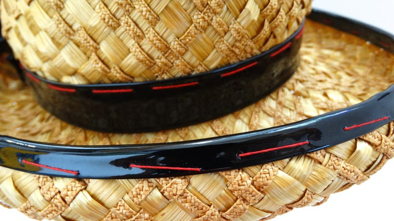 Yves Saint Laurent 1960s Mixed Straw Bowler Hat  In Good Condition For Sale In Scottsdale, AZ