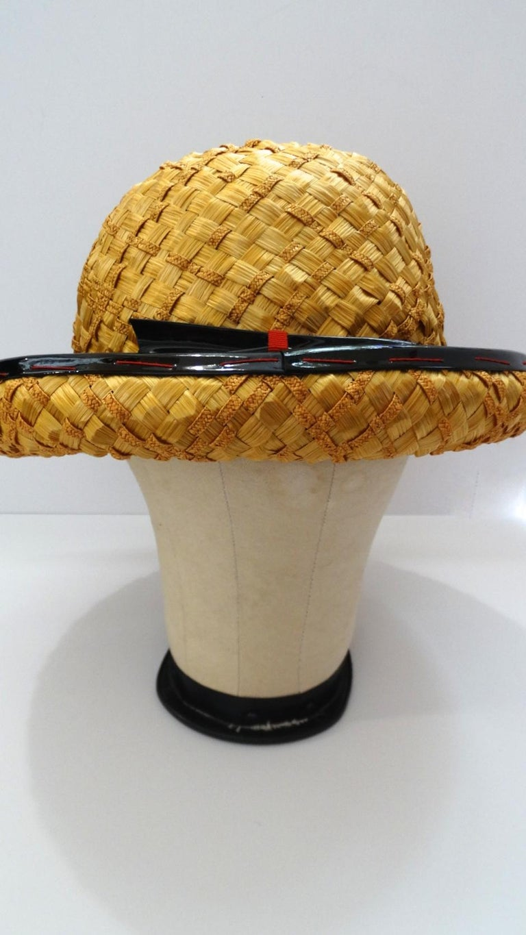 Women's or Men's Yves Saint Laurent 1960s Mixed Straw Bowler Hat  For Sale
