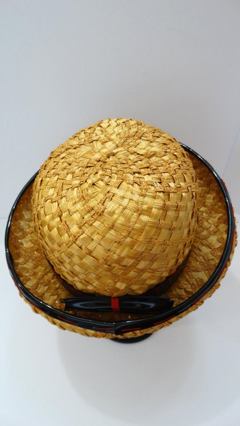 Yves Saint Laurent 1960s Mixed Straw Bowler Hat  For Sale 4
