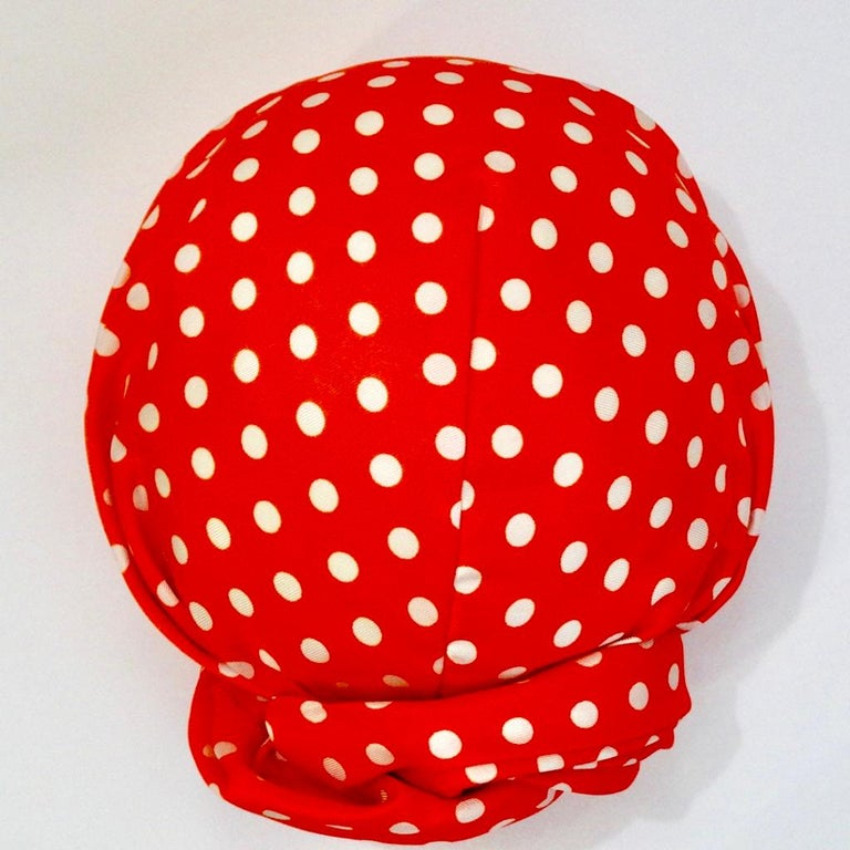 1960s Yves Saint Laurent Red Polka Dot Turban In Good Condition For Sale In Scottsdale, AZ