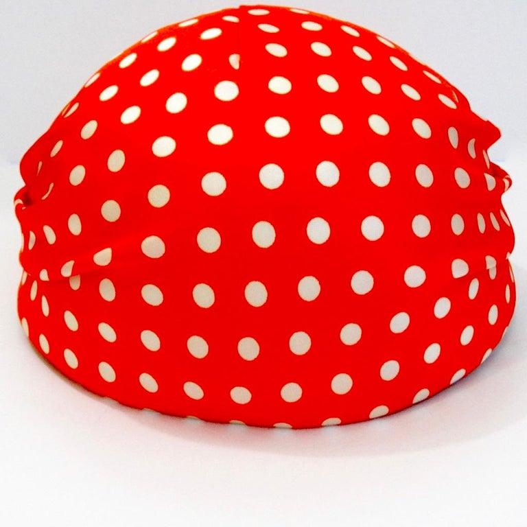 1960s Yves Saint Laurent Red Polka Dot Turban For Sale 1