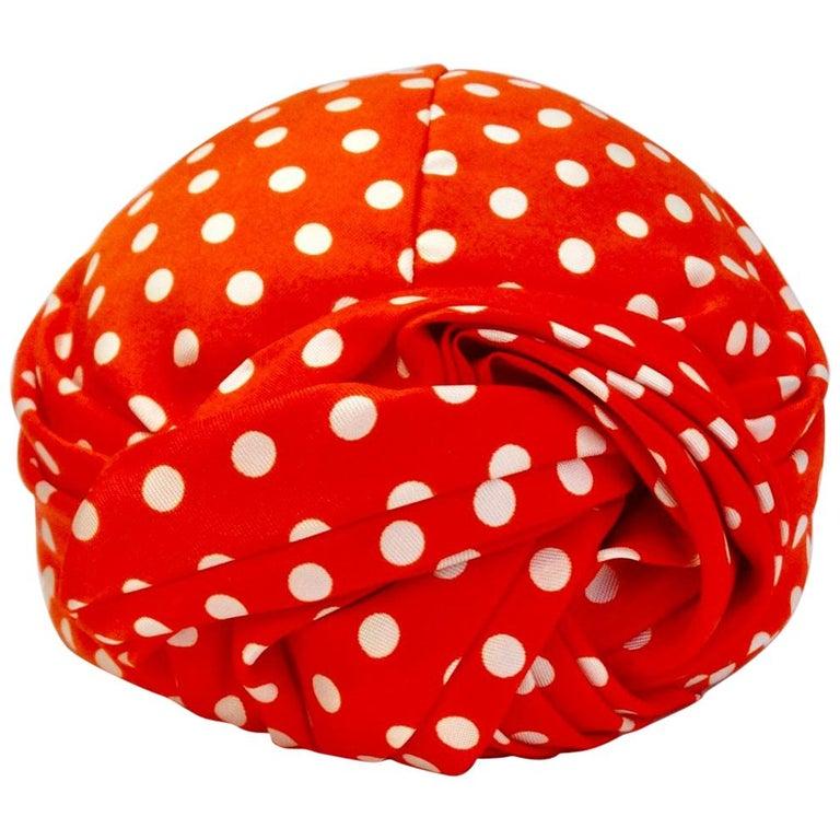 1960s Yves Saint Laurent Red Polka Dot Turban For Sale