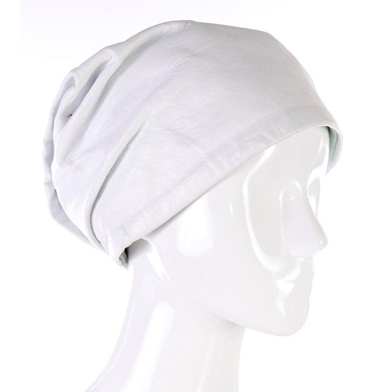 Gray 1960s Yves Saint Laurent White Leather Folded Turban Style Hat