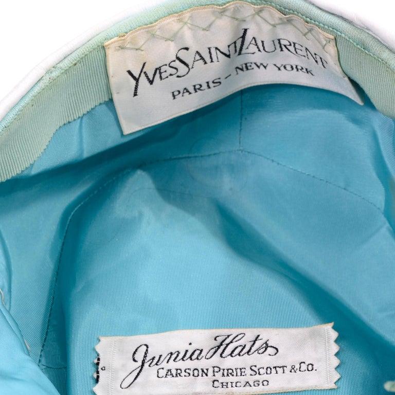 1960s Yves Saint Laurent White Leather Folded Turban Style Hat 3