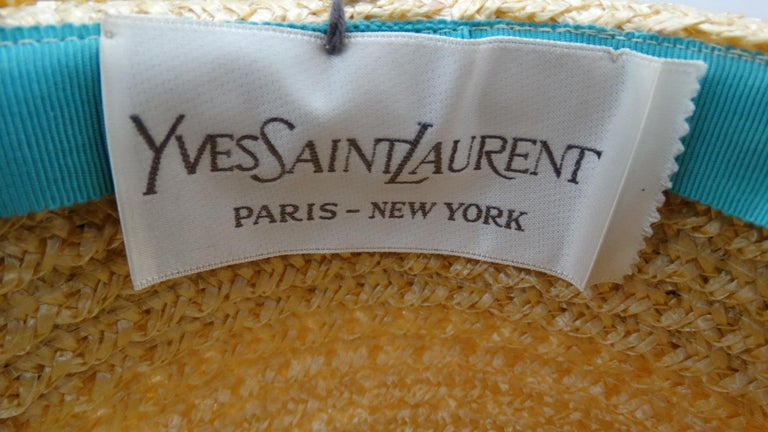 5048df113bd Incredible straw boater hat from designer Yves Saint Laurent circa the  1960s! Golden yellow woven
