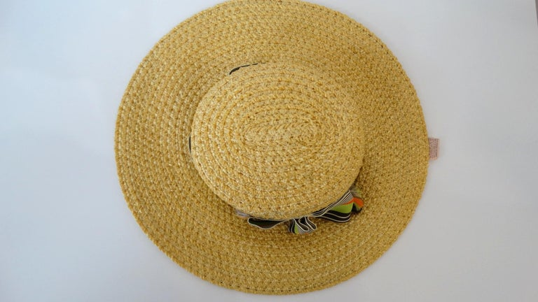 76b0a785bc4 1960s Yves Saint Laurent Wide Brim Straw Boater Hat For Sale at 1stdibs