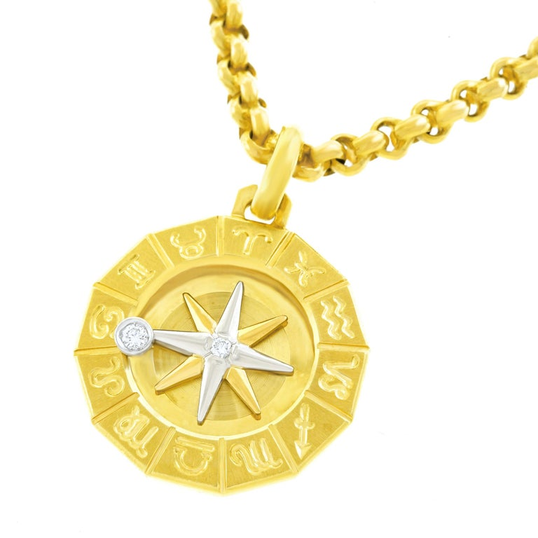 1960s Zodiac Motif Gold Pendant In Excellent Condition For Sale In Litchfield, CT