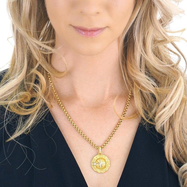 1960s Zodiac Motif Gold Pendant For Sale 4