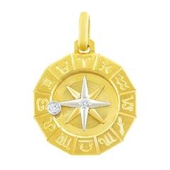 1960s Zodiac Motif Gold Pendant