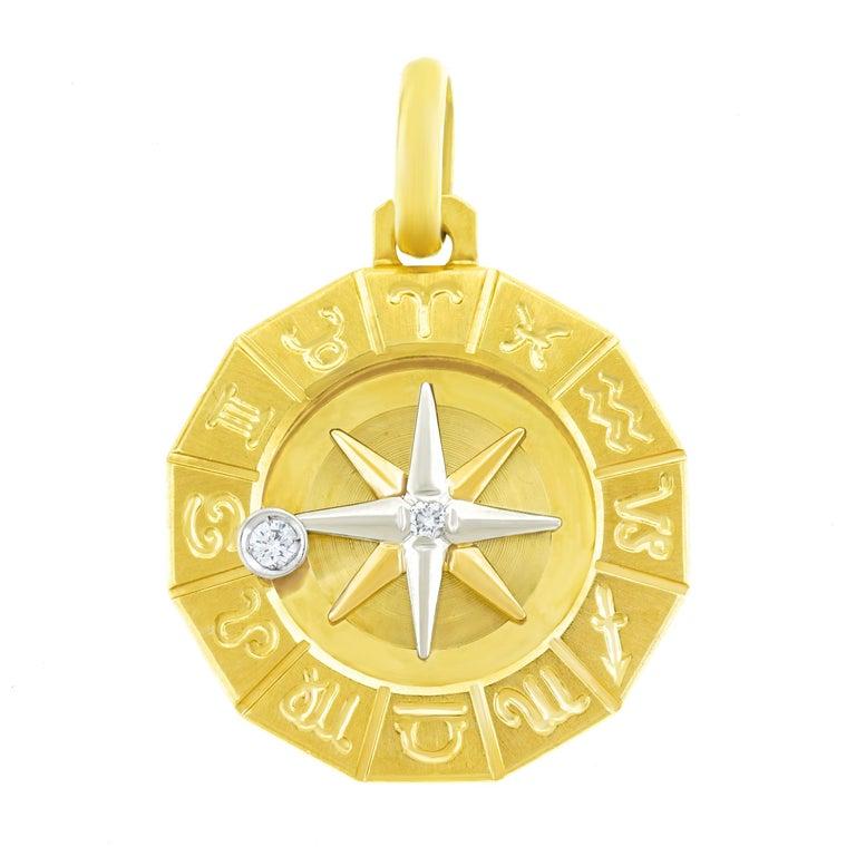 1960s Zodiac Motif Gold Pendant For Sale