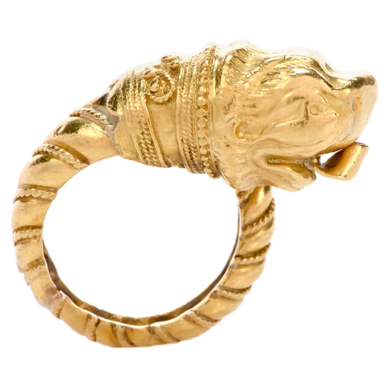 1960s Zolotas Greek 22 Karat Lion Head Gold Ring
