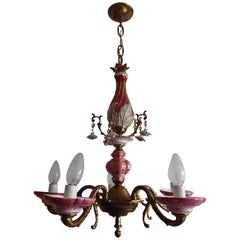 1960th Italian Porcelain Chandelier with Roses