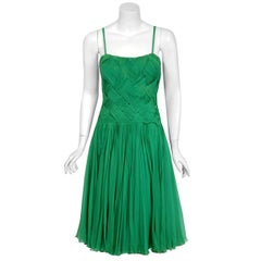 1961 Carven Couture Seafoam Green Ribbon Weave Crepe Chiffon Full-Skirted Dress